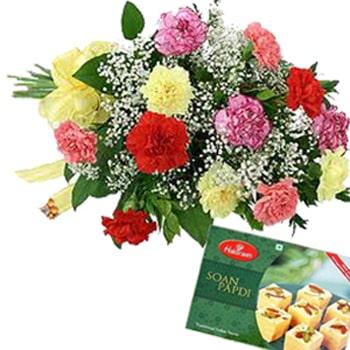 Janmashtami-Carnations and Soan Papdi Combo