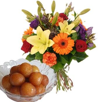 Seasonal Flowers and Jammun for Navratri