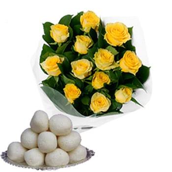 Rasgulla with Yellow Roses for Janmashtami