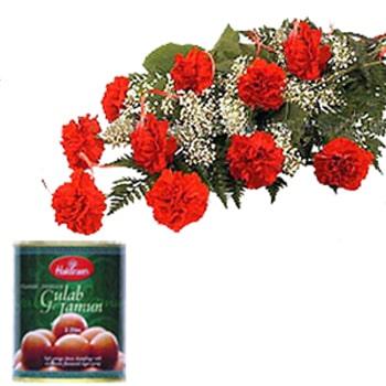 Janmashtami-Red Carnations and Jammun