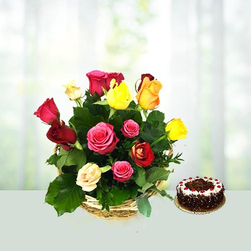 2 KG Blackforest Cake N 14 Roses Basket
