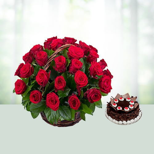 25 Red Roses basket N Cake