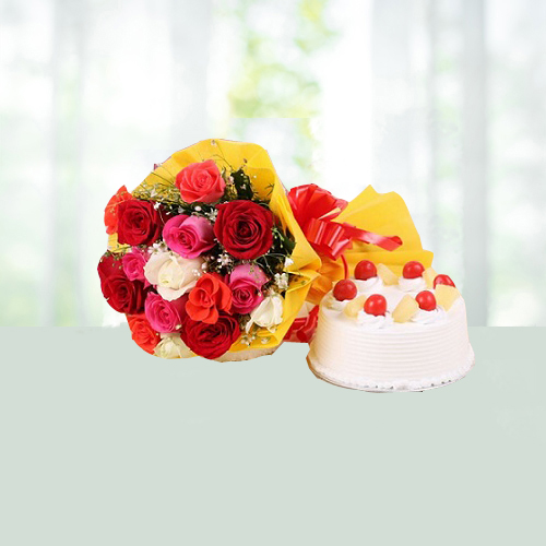 Bunch Of 25 Mix Roses With Pineapple Cake