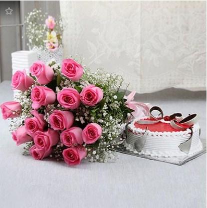 Strawberry Cake N 15 Pink Roses
