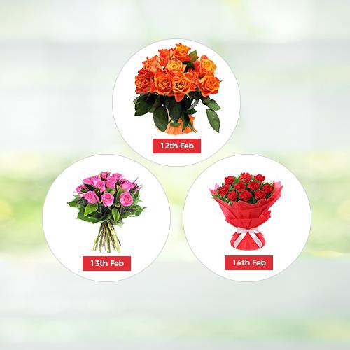 V Day - 3 Days Flowers Hamper