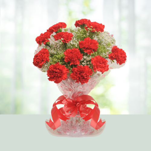 Christmas Gift- Red Carnations Bouquet