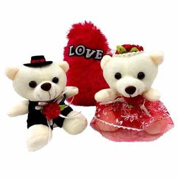 Lovey Teddy Couple with Love Cushion