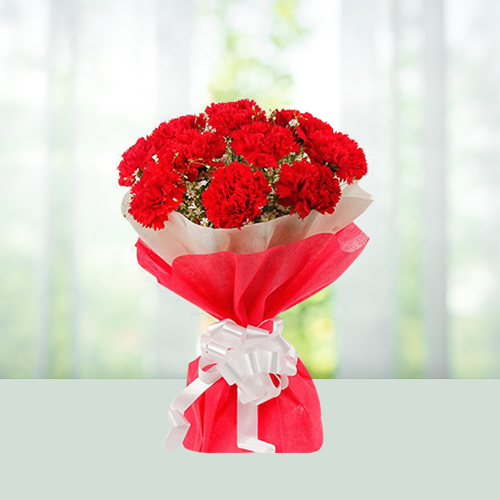 Flowers Bouquet- Red Carnations