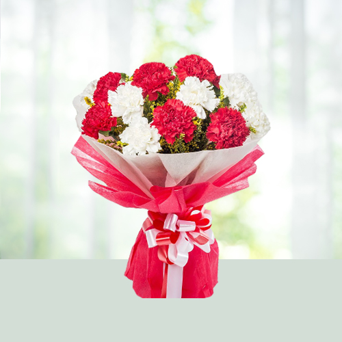 Flowers Bouquet of red n pink carnations