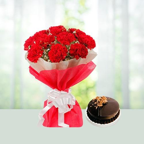 Flowers Bouquet N Cake Combo