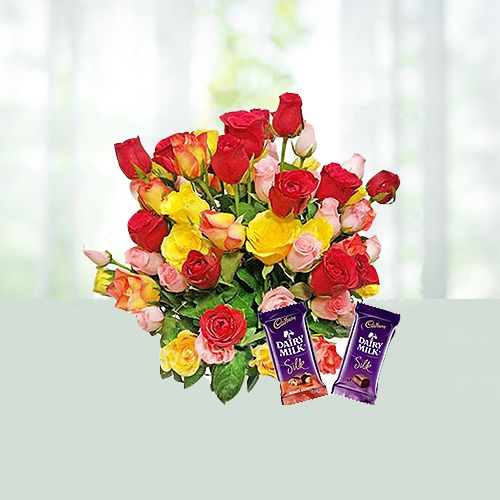 V Day- 40 Mixed Roses Bouquet with Dairy Milk Chocolates