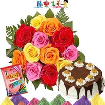 Holi Roses With Cake N Gulal