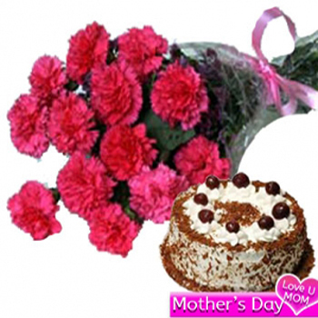Pink Carnations with Cake combo