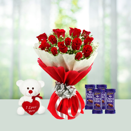 Love Flowers Bouquet with Chocolate and teddy