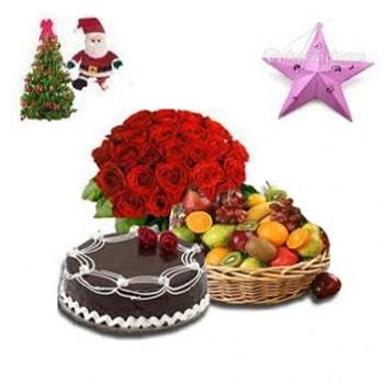 24 Pcs Red Rose Bouquet,1 kg Chocolate cake,4 kg Fruit Basket
