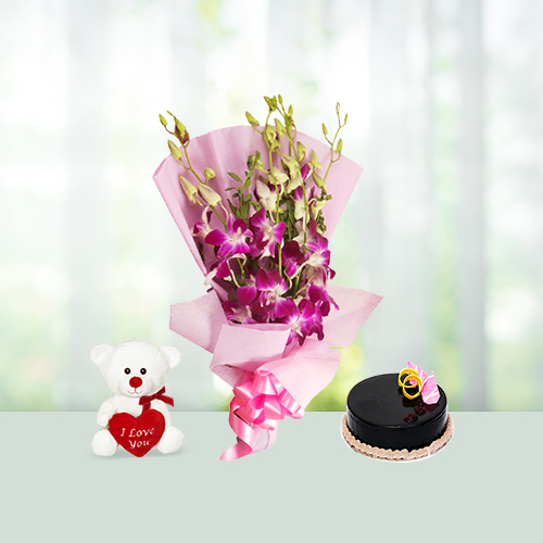 Orchids with cake and Teddy Combo