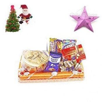Chocolate hamper with free santa,christmas tree,star