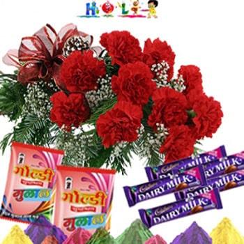 Carnations N Chocolates on Holi