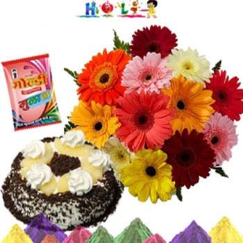 Holi Best Wishes Flower N Cake Combo