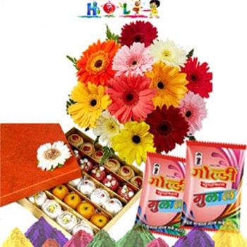 Holi Gerbaras N Assorted Sweets