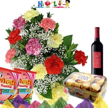 Holi Wine Hamper with Carnations