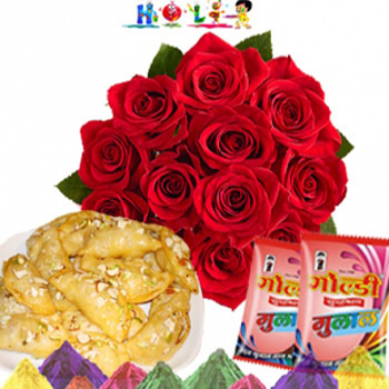 Roses With Gujjias for Holi