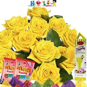 Holi Yellow Roses N Thandai