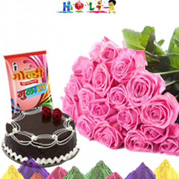 Holi Pink Roses With Cake