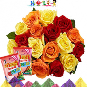Roses With Holi Gulal