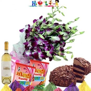 Holi Wishes with White Wine N Cake
