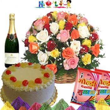 Holi Champane Flowers Combo