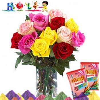 Colorful Roses On Holi