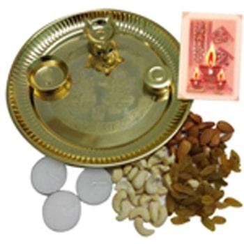 Navratri Dryfruits n Golden Pooja Thali Hamper