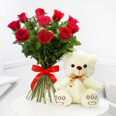V Day-12 Red Roses Bouquet and 6 inch Teddy