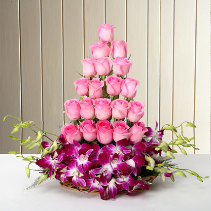Basket Arrangement Of Orchids and Roses