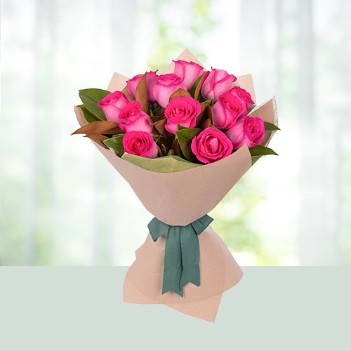 V Day- 12 Pink Roses Bouquet