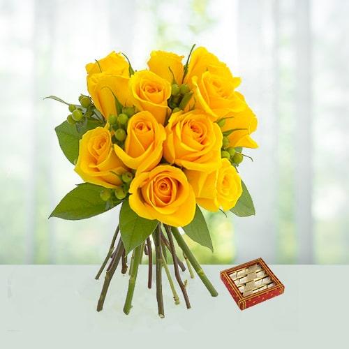 Yellow Roses with Kaju Sweets