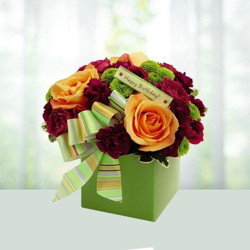 Birthday Bouquet-Orange Roses