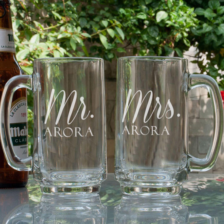 Mr N Mrs Personalized Gift Beer Mugs