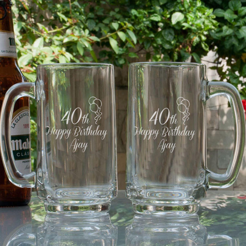 Birthday Bash Personalized Gift Beer Mugs