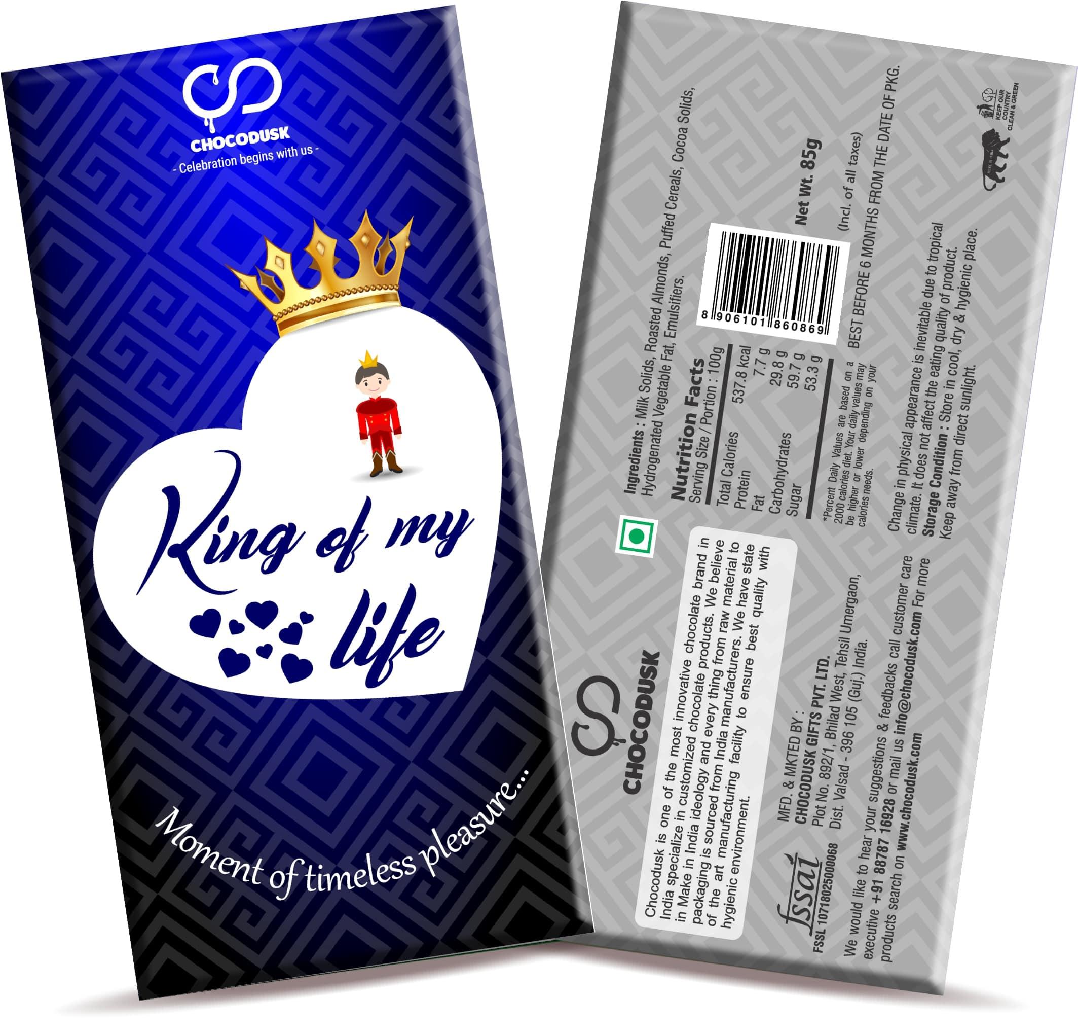 King Of My Life Chocolate Bar, 85 gram,Set of 2