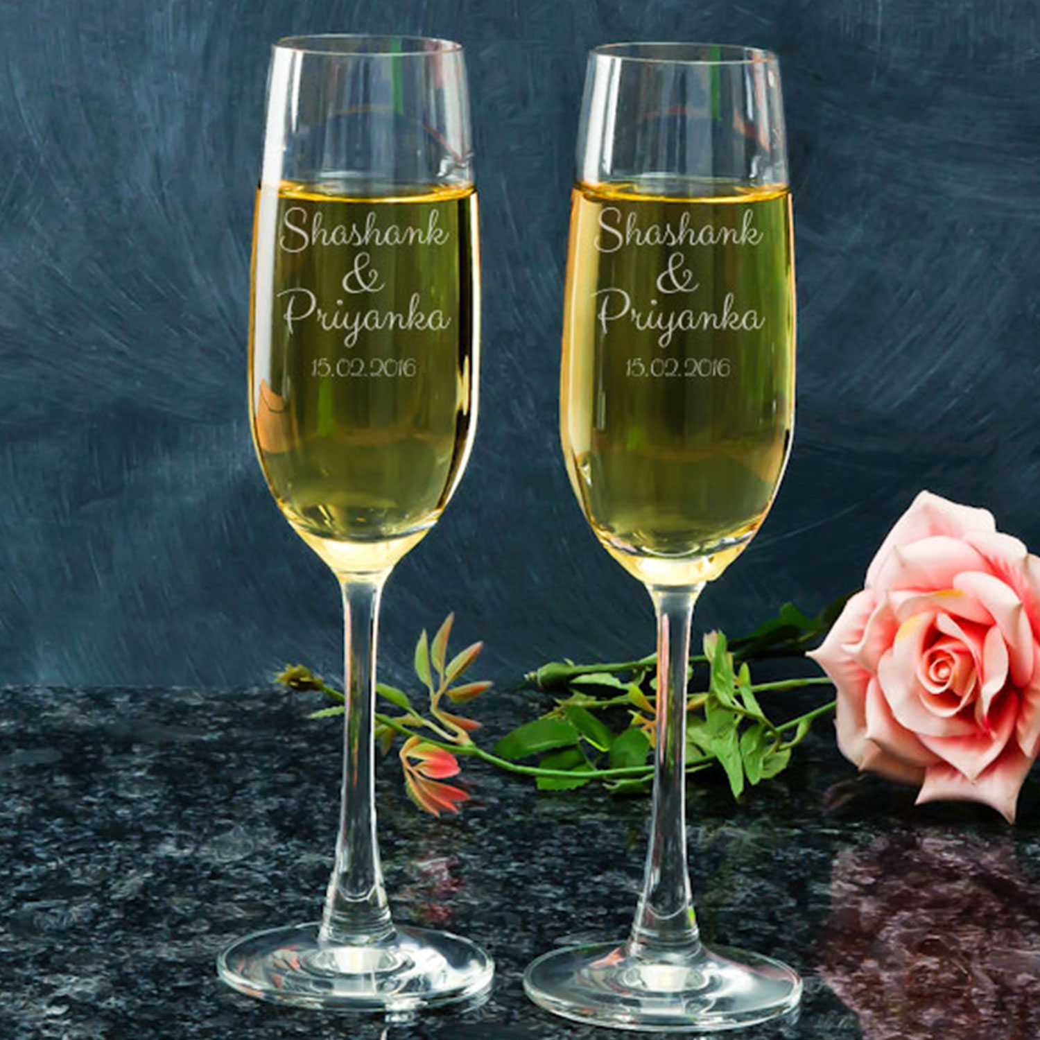 Romantic Date Personalized Gift Champagne Glass