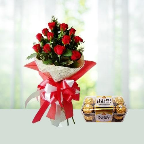 V Day- 12 Roses with 16 Ferrero Rocher Chocolates