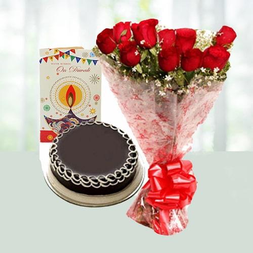 Diwali Roses with Choco Cake