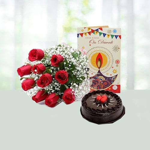 Diwali Carnations with Choco Cake