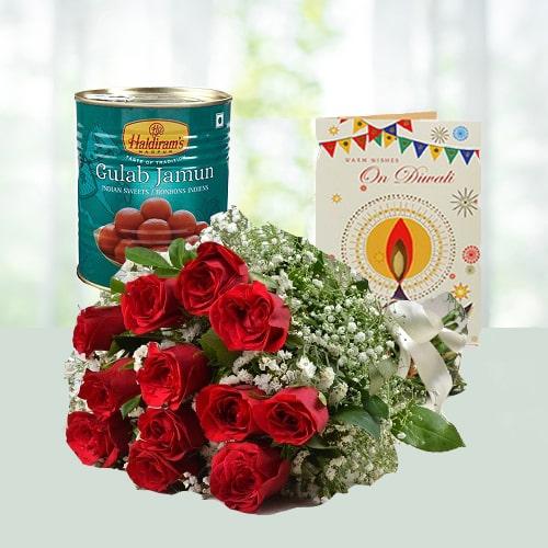Diwali Wish with Flowers n Gulabjamun