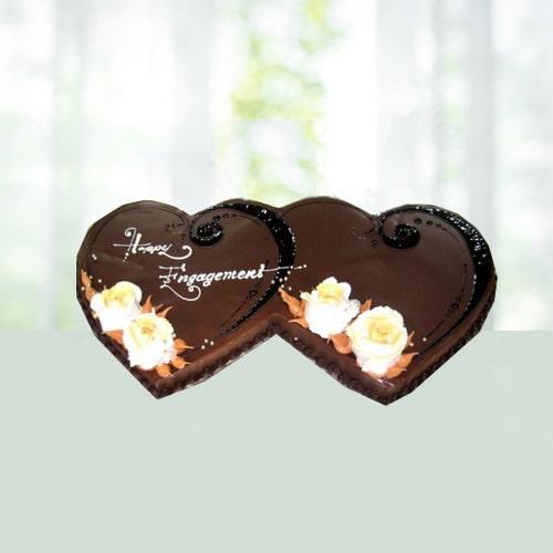 Double Heart Shape Chocolate Cake