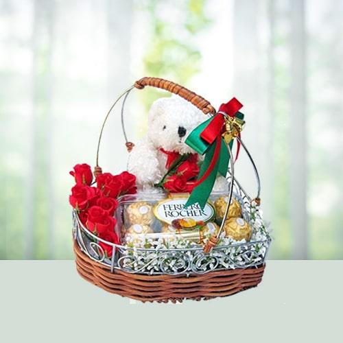 Flower Teddy N Chocolate Hamper