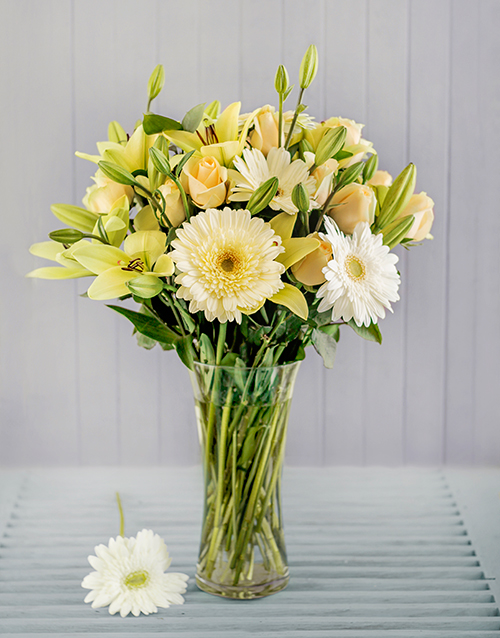 Cream and White Flowers in a Vase
