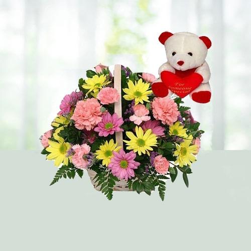 V Day - 20 Gerberas N Carnations Basket N 6 Inch Teddy